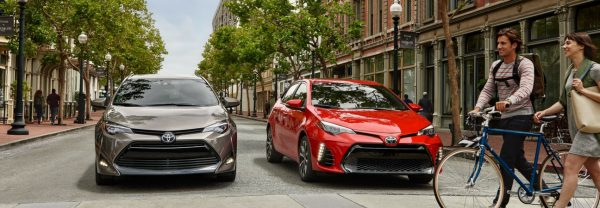 Two 2019 Toyota Corollas parked side-by-side at an intersection